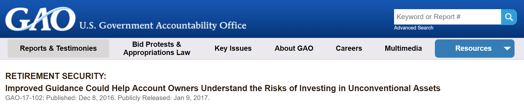 GAO Report 17-102 Retirement Security Self-Directed IRA's