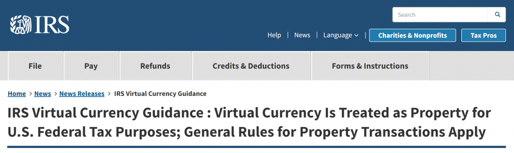IRS Notice about Bitcoin - 2014